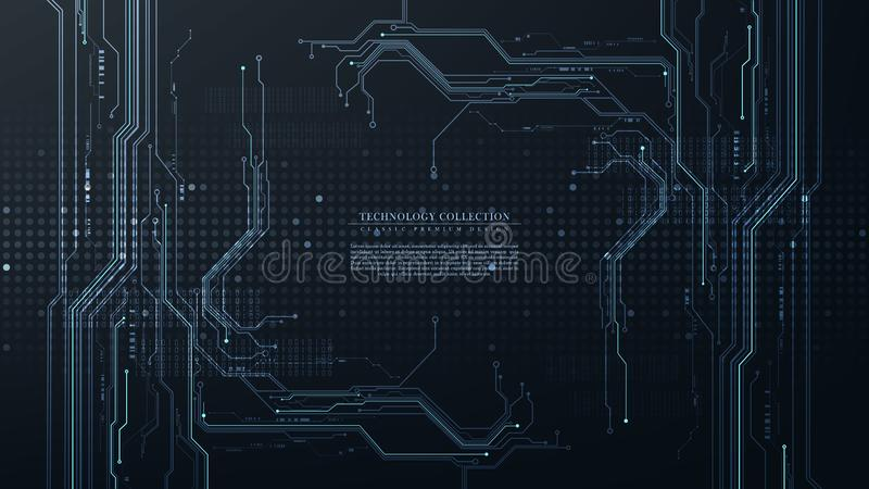 Abstract digital technology futuristic circuit hardware connection background vector. Design stock illustration