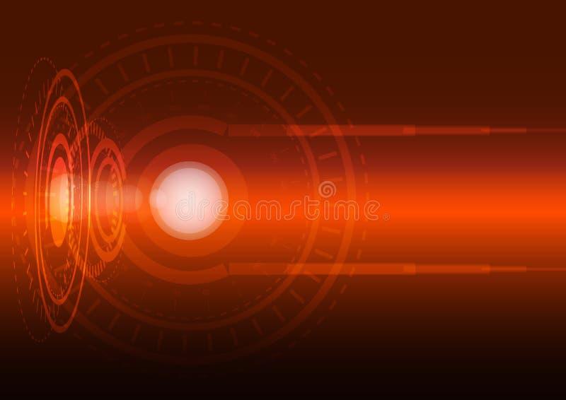 Abstract digital technology orange background. Vector Illustration royalty free illustration