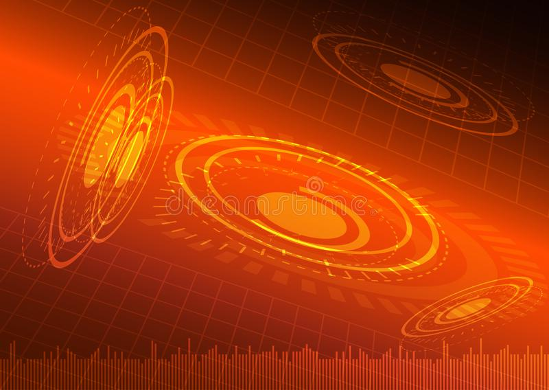Abstract digital technology orange background. Vector Illustration stock illustration