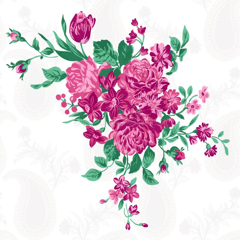 Free Abstract Digital Watercolor Flower  Design Pattern On   Background Royalty Free Stock Photos - 199360138