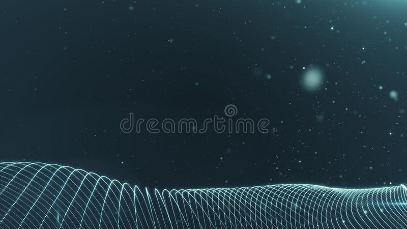 Abstract Digital wave background dark blue 3d rendering animation blurred particle motion background shining shimmer and stock illustration