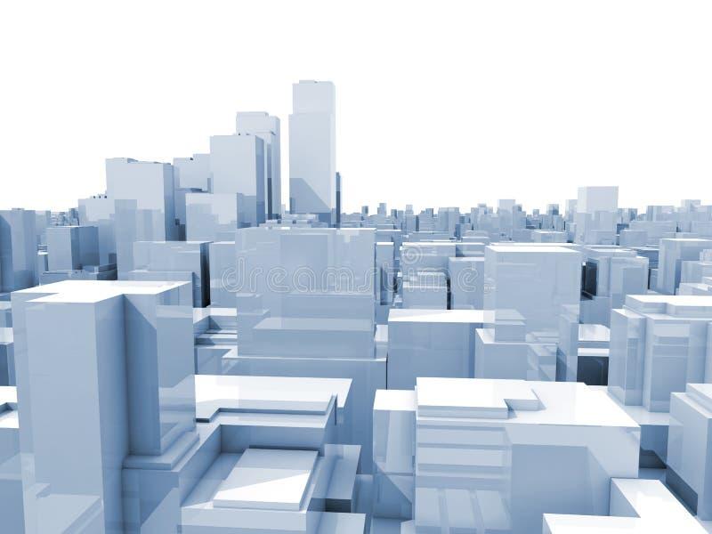 Abstract digital white cityscape 3d illustration stock illustration