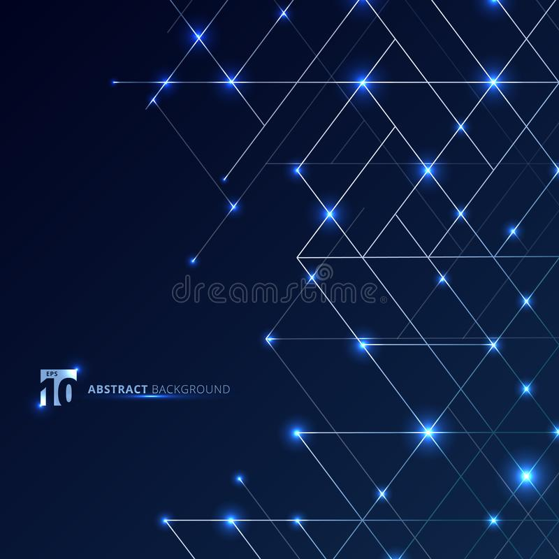 Abstract dimension lines silver color on dark blue background with glow point. Modern luxury style square mesh. Digital geometric royalty free illustration