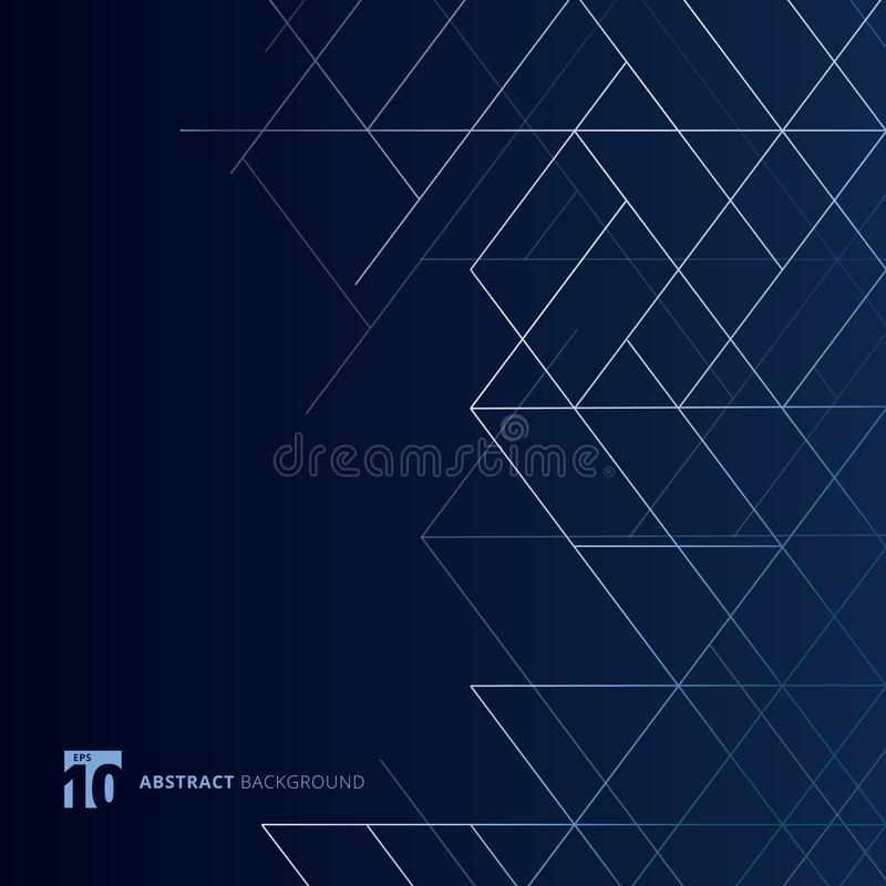 Abstract dimension lines silver color on dark blue background. Modern luxury style square mesh. Digital geometric abstraction with royalty free illustration