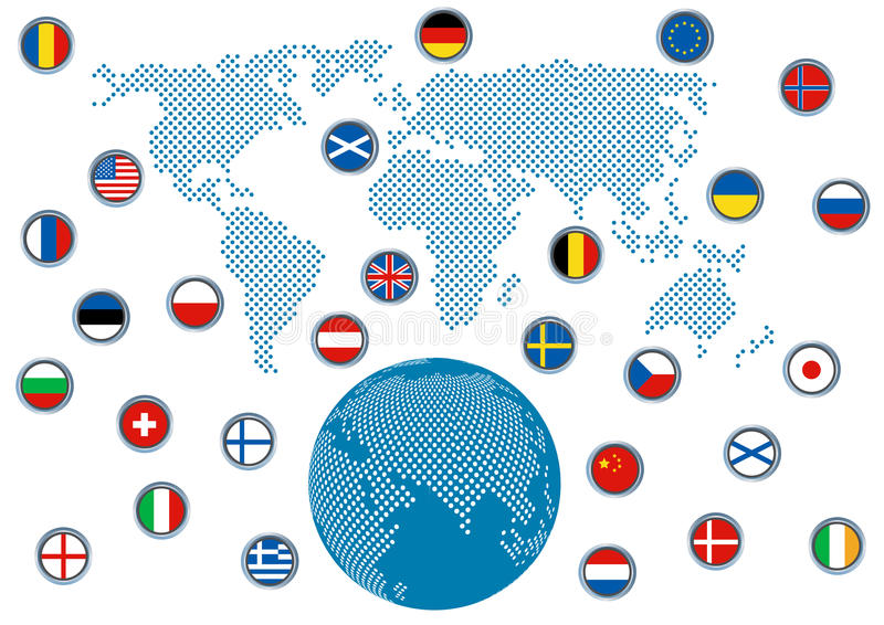 Download Abstract Dimensional Globe With Flags Stock Illustration - Image: 34781834