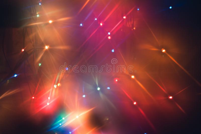 Abstract disco background in 80s style,. Multicolored blurry lights royalty free stock photo