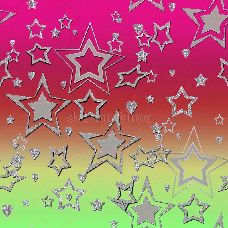 Abstract disco birthday stars starry glitter gradient print royalty free illustration
