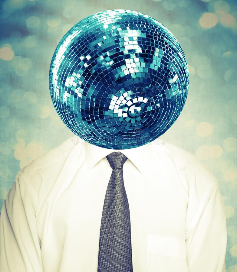 Abstract disco man in white shirt and tie with mirror ball. As a head. Collage with instagram filter effect stock photography