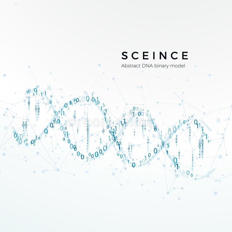 Abstract DNA binary model. Genetic code. Science and futuristic concept. vector illustration isolated on white.  royalty free illustration