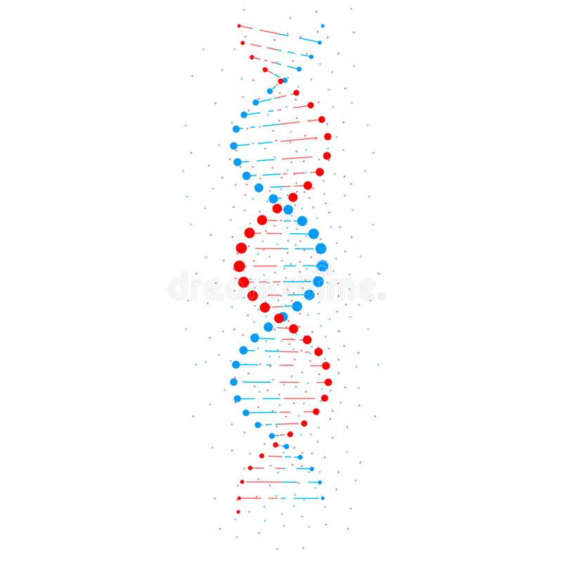 Abstract DNA structure isolated on white background. Vector illustration.  stock illustration