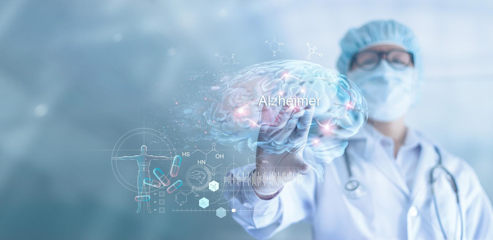 Abstract, Doctor checking and analysis alzheimer`s disease and dementia of brain, testing result on virtual interface, innovative stock images