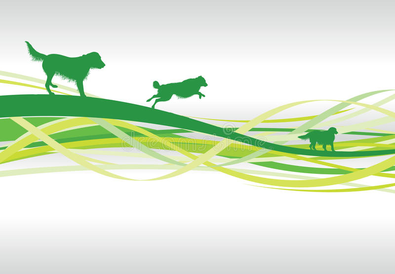 Abstract dog background. A green abstract dog line background