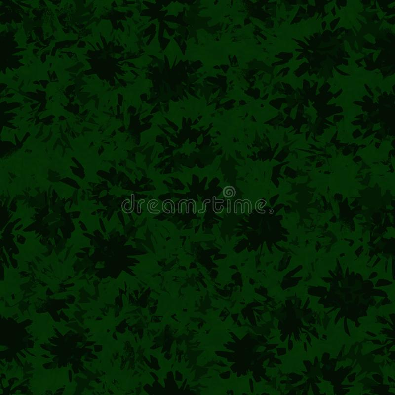Abstract donker en groen patroon met flitsen en vlekken, met de hand geschilderd met gekleurde tellers stock illustratie