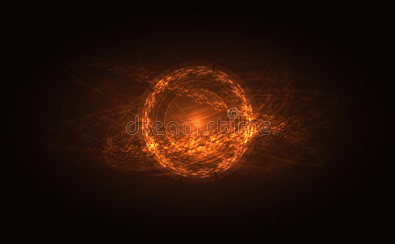Abstract Donker Gebied met Oranje het Glanzen Baan royalty-vrije illustratie