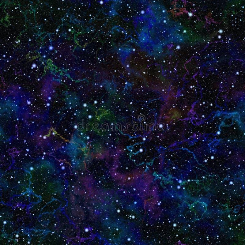 Abstract donkerblauw heelal Kleurrijke nacht sterrige hemel Veelkleurige kosmische ruimte De achtergrond van de textuur Naadloze  royalty-vrije illustratie