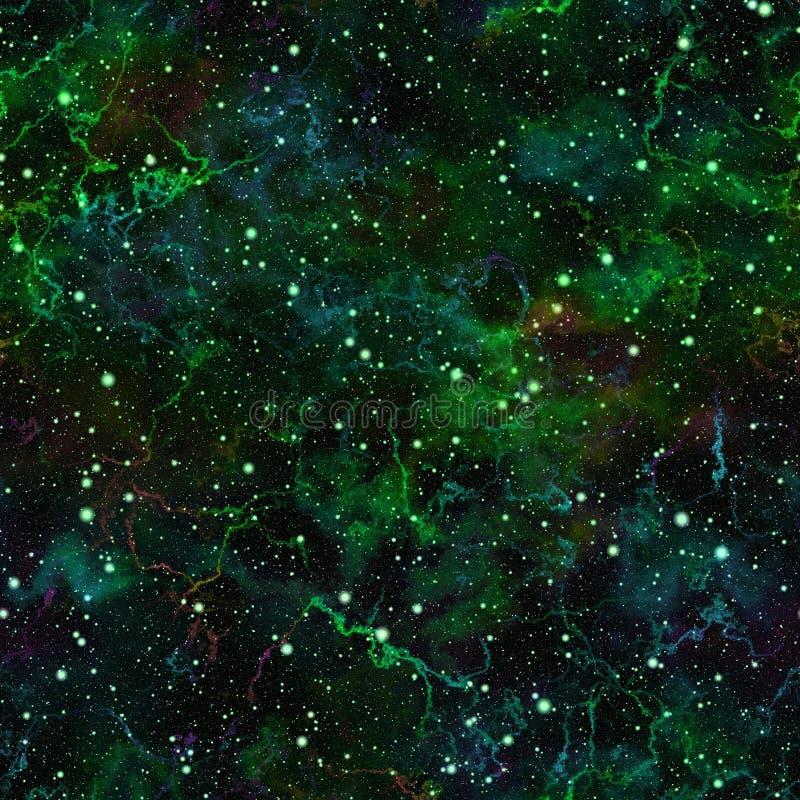 Abstract donkergroen heelal Bewolkte nacht sterrige hemel Schitterende nevelkosmische ruimte De achtergrond van de textuur Naadlo stock illustratie