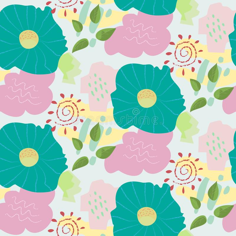 Abstract doodle childish color floral pattern stock illustration