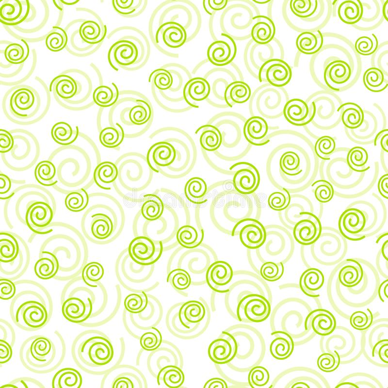 Abstract doodle curly green geometric seamless pattern stock image