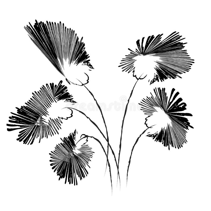 Abstract doodle flowers in black and white, vector illustration. Hand drawn style image stock illustration
