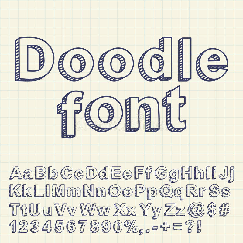 Abstract doodle font stock illustration