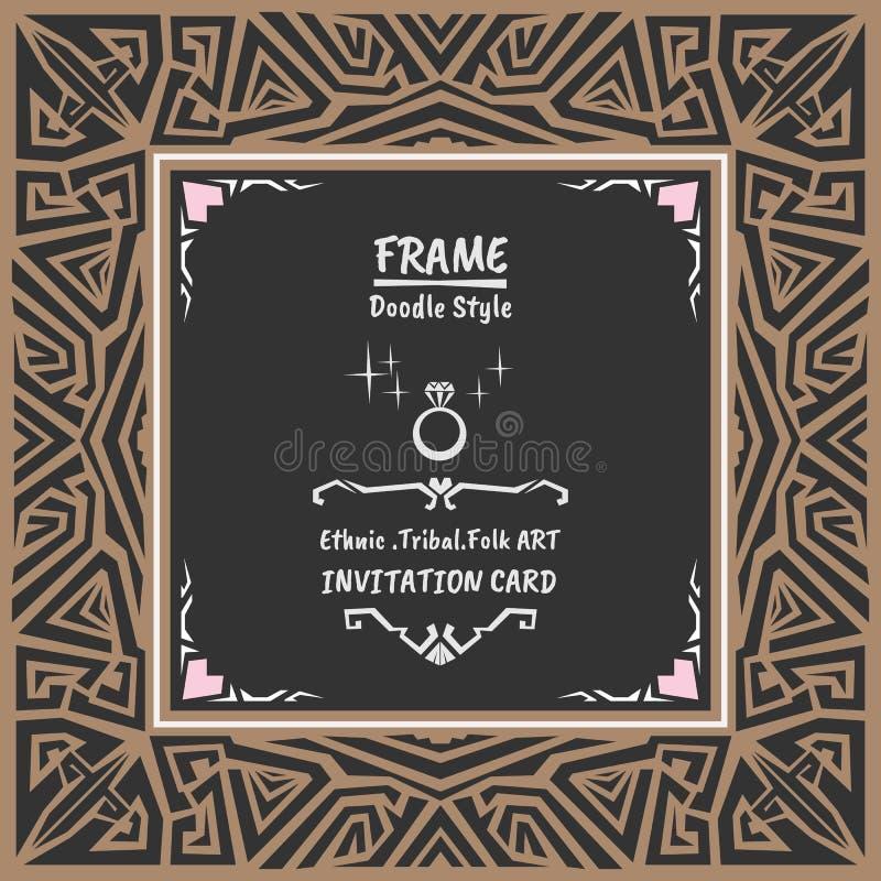 Doodle Tribal Ethnic Style Frame  Bohemian Invitation Card
