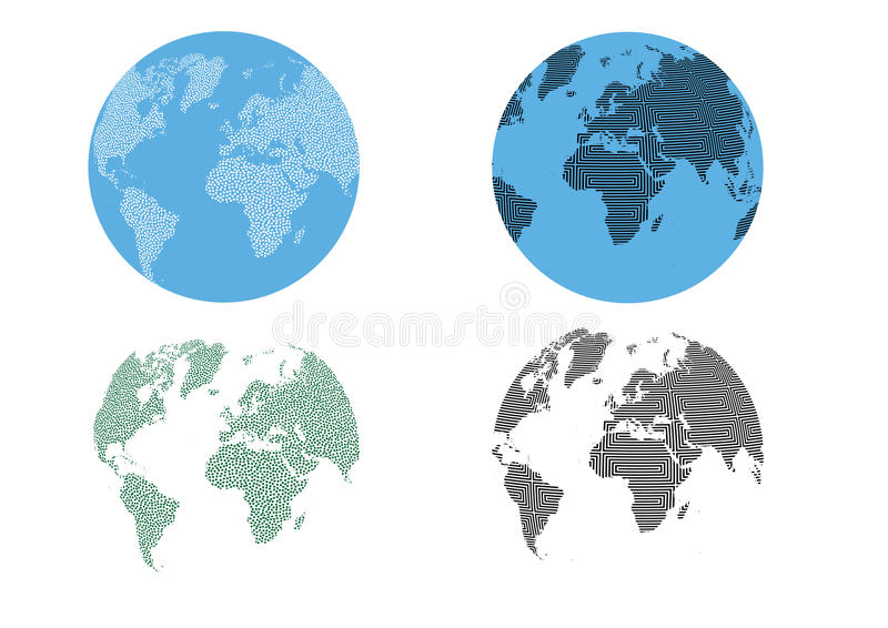 Abstract Dots Optical Texture Pattern World Globe royalty free illustration