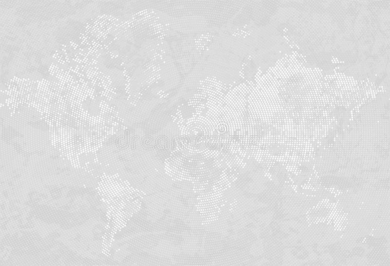 Abstract Dotted Map Gray and White Halftone grunge Effect Background. World map silhouettes. Continental shapes of dots stock illustration