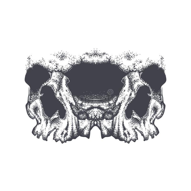 Abstract dotwork grunge horror skull. royalty free illustration