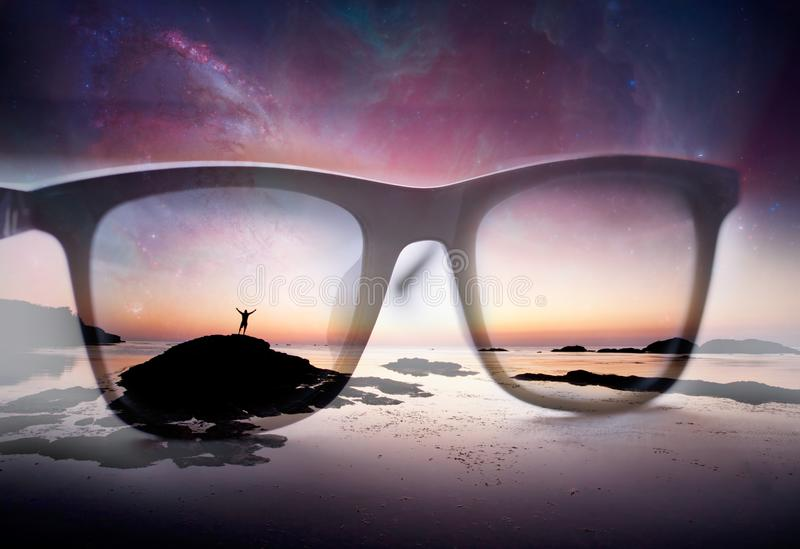 abstract double exposure background with sunglasses and human silhouette- elements of this image stock photo