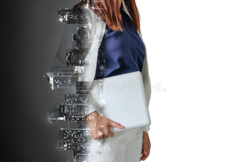 Abstract double exposure image of businesswoman man holding laptop royalty free stock images