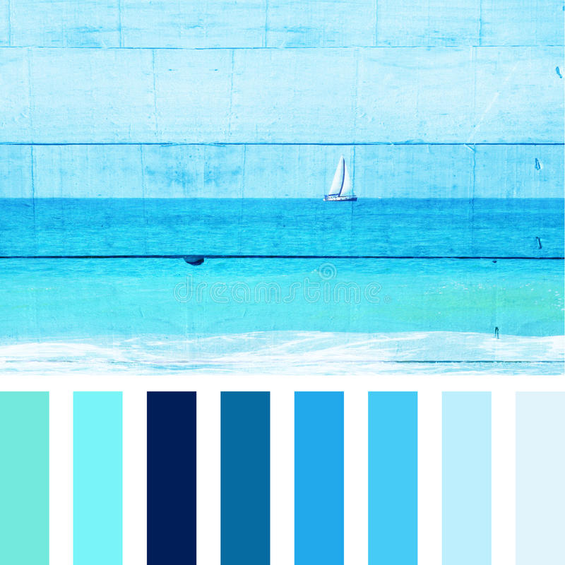 Abstract double exposure image of sailboat at horizon on the sea and wooden planks background, vintage filter with palette color royalty free stock photos