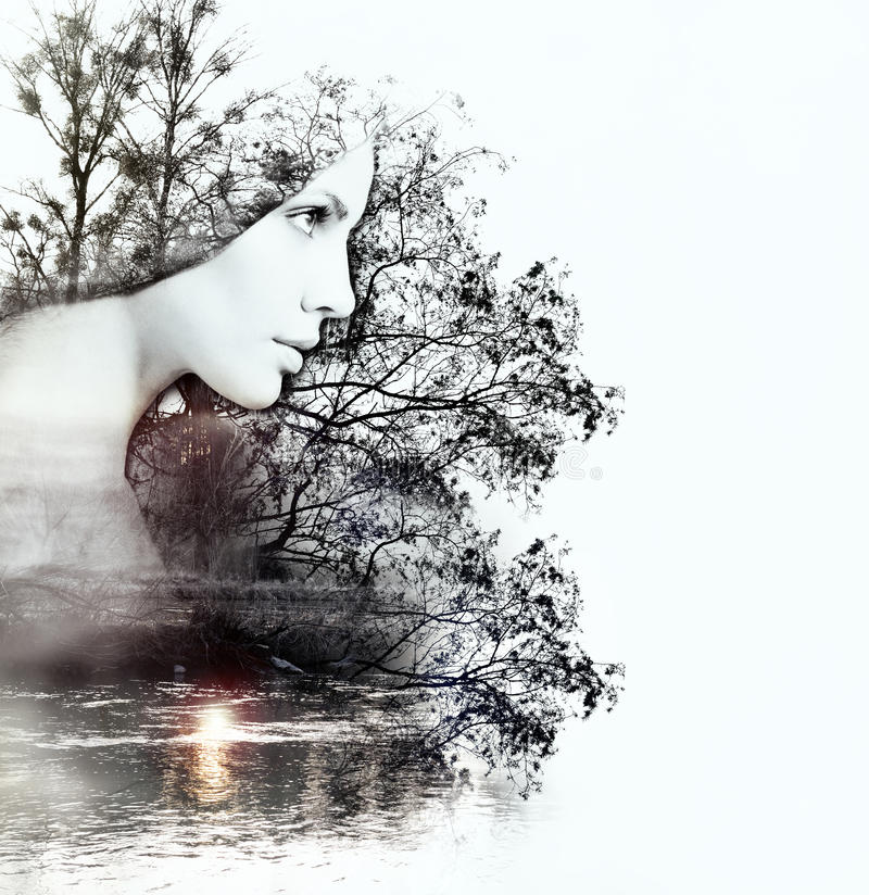 Beautiful Woman Face Over Beach Sunset Stock Image: Abstract Double Exposure Of Woman And Nature At The Sunset