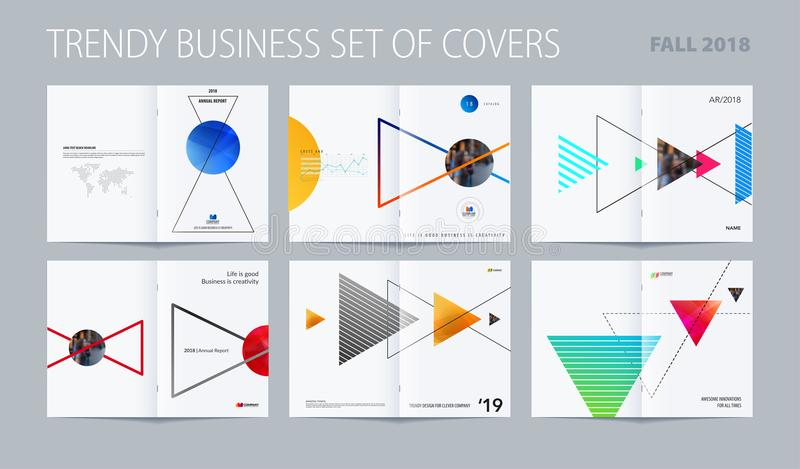 Download Abstract Double-page Brochure Design Style With Colourful Triangles For Branding. Business Vector Presentation Broadside Stock Vector - Illustration of infographics, brochure: 116258323