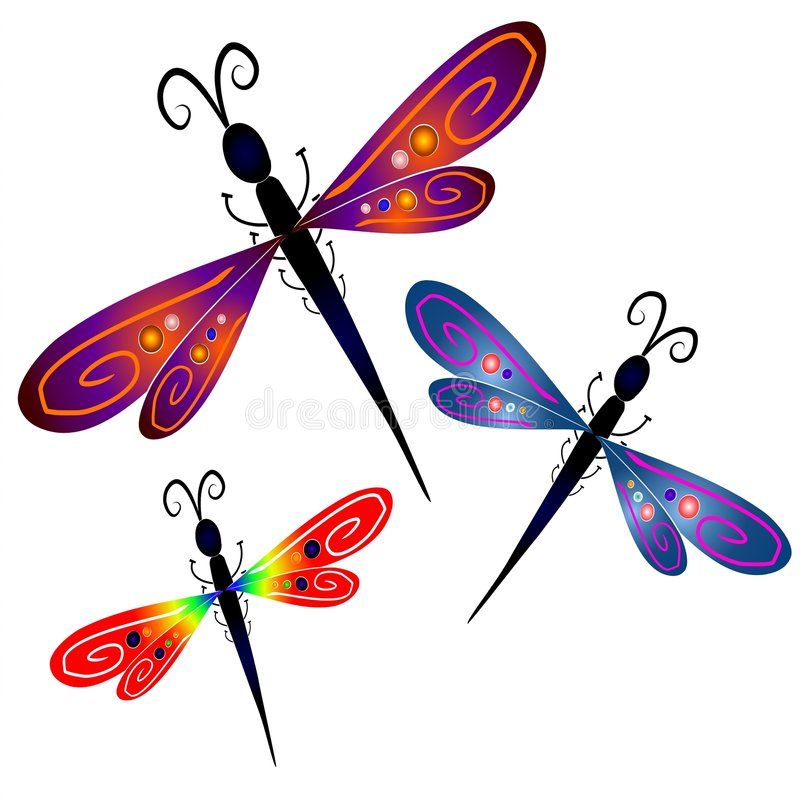 Abstract Dragonfly Clip Art. A clip art illustration of 3 dragonflies with artistic colors and patterns in their wings on a white background
