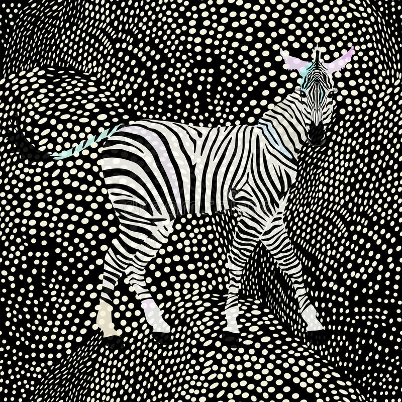 Download Abstract Draw Zebra In The Savannah Fashion Stock Illustration