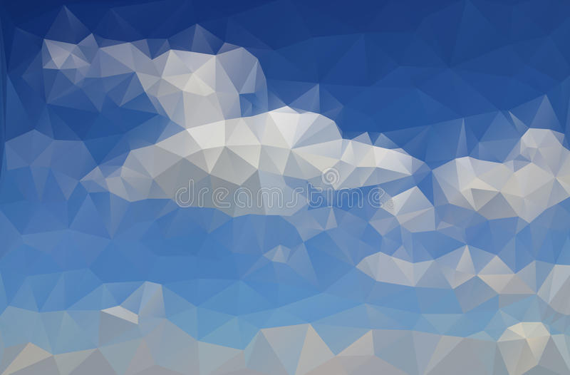 Abstract drawing azure blue sky. With white clouds created from triangles royalty free illustration