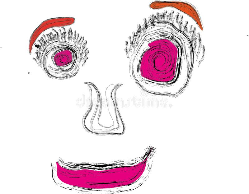 Abstract drawing of a clown`s face stock images