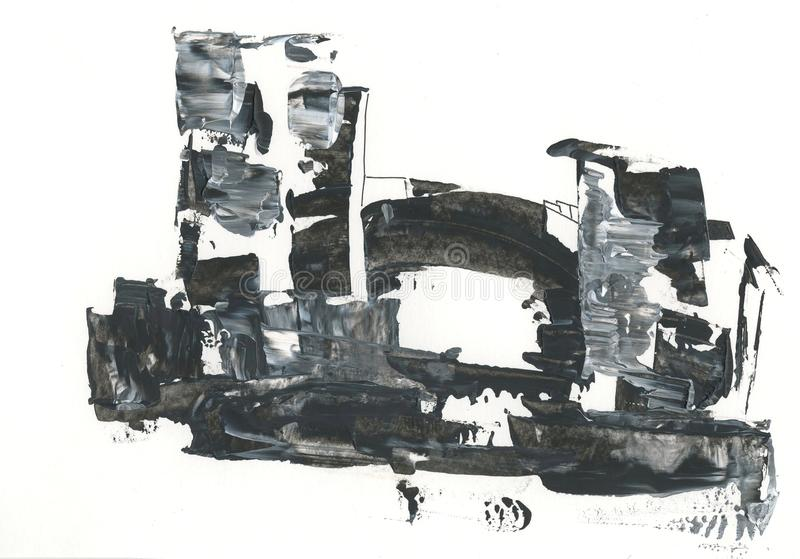 Fortress, the old castle, drawing with acrylic, abstract drawing. Abstract drawing of the destroyed old fortress, with a stone bridge, black and white graphics vector illustration