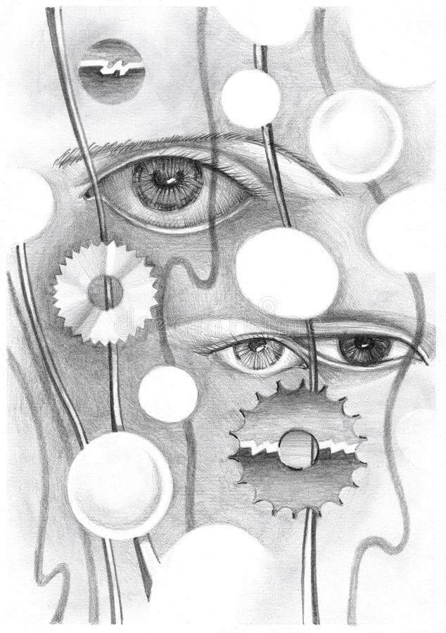 Abstract drawing of the eye and objects. Hand-drawn in pencil on paper royalty free illustration