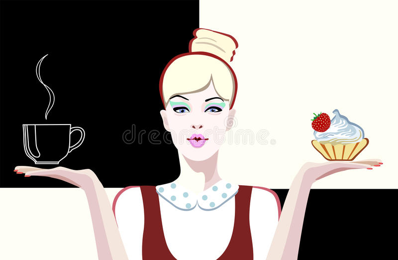Abstract drawing of a girl waitress in a shop coffee stock illustration