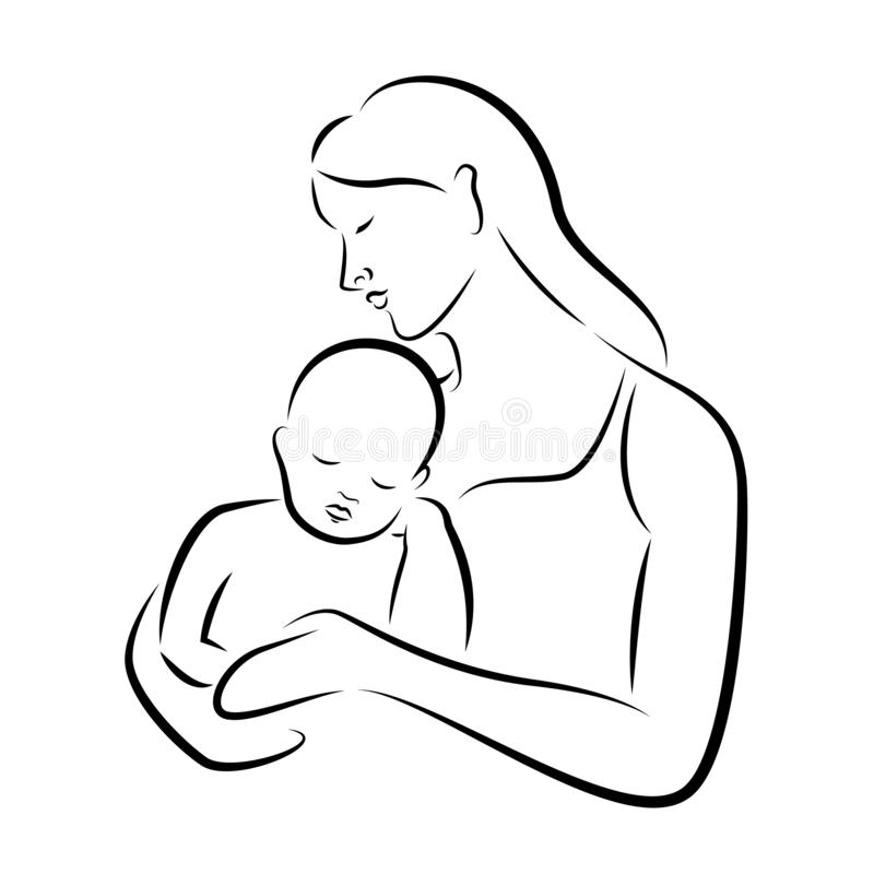 Abstract drawing line mother hug a baby vector art design stock illustration