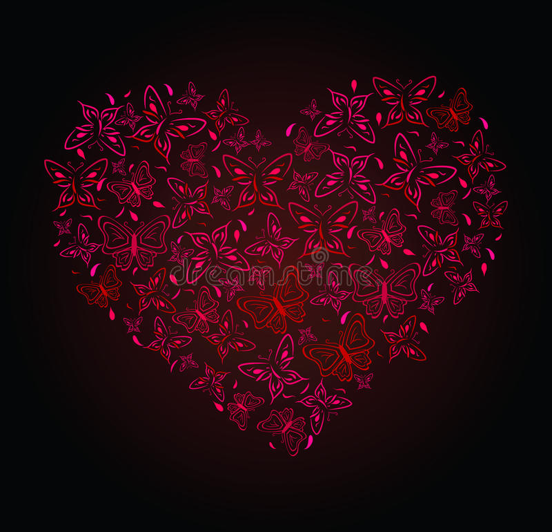 Free Abstract Drawing Of Heart From Butterflies Stock Photos - 12439853