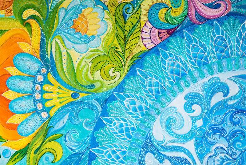 Abstract drawing oil paints on a canvas with floral ornament stock illustration