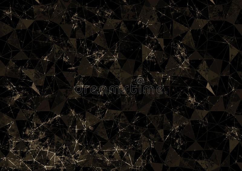 Abstract drawn brown background. Origami poligonal design with effect of broken stained glass. royalty free illustration