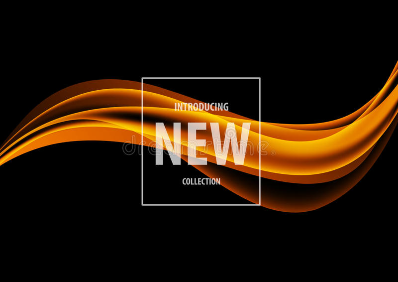 Abstract dynamic art design template. With orange elegant wavy lines in soft smooth style on dark background. Vector illustration stock illustration