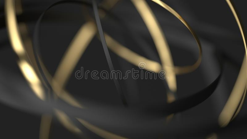 Abstract dynamic background. 3d gold and black motion rings stock images