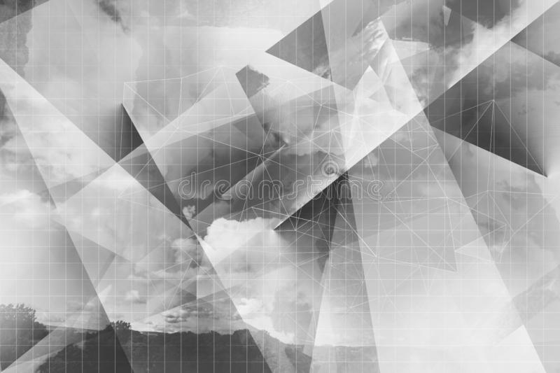 Abstract, dynamic, 3d grey and white artistic background. An Abstract, dynamic, 3d gray and white artistic background with geometric grid and clouds vector illustration