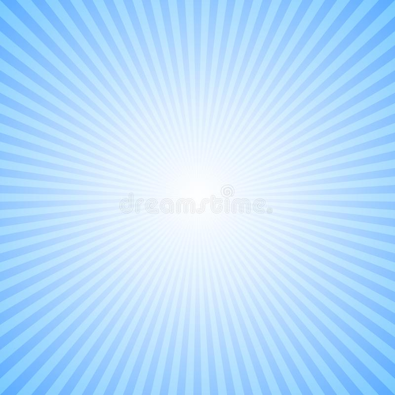 Abstract dynamic sun rays background - blue vector illustration from radial stripes stock illustration