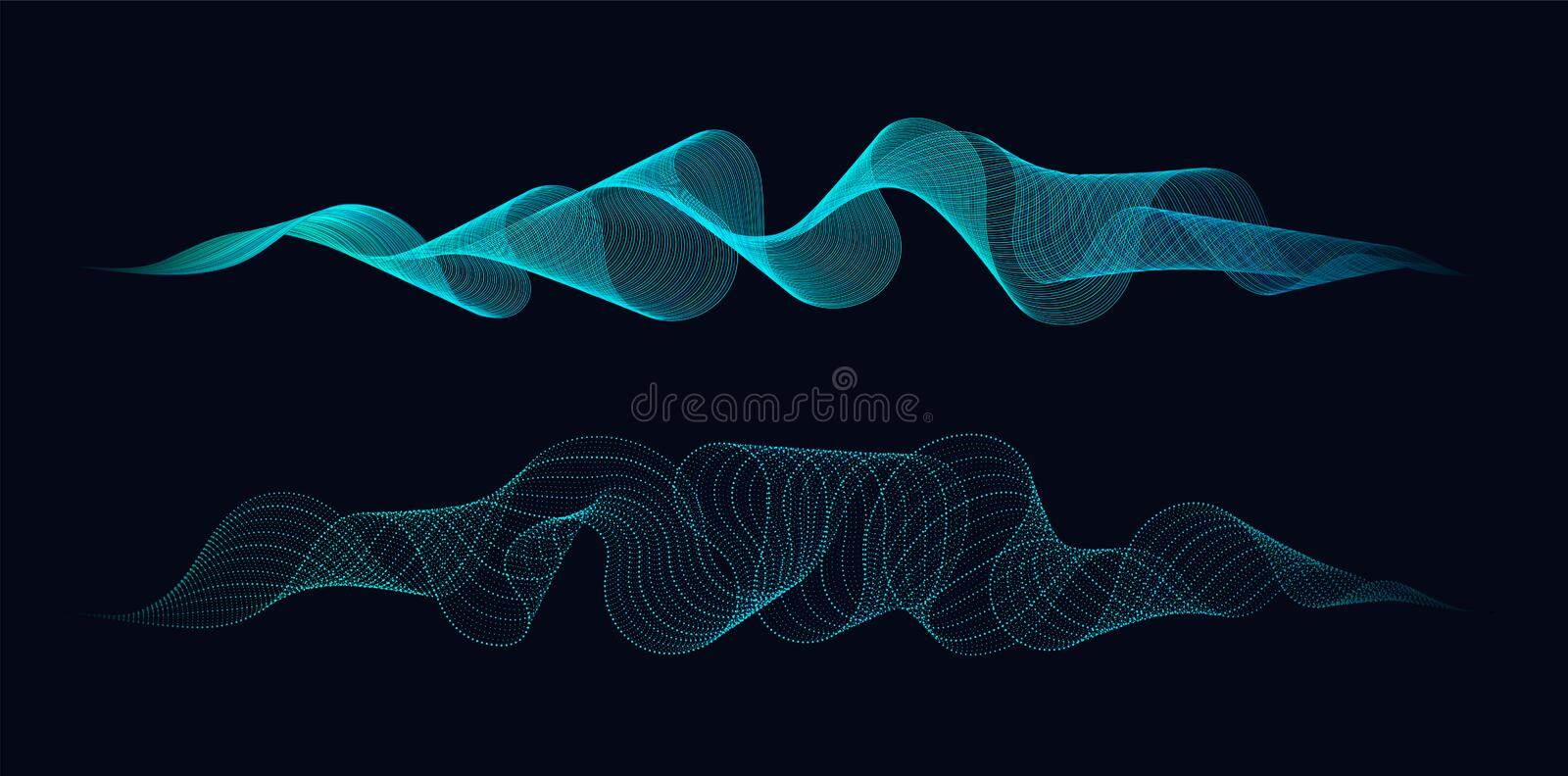 Abstract dynamic waves of lines and dots flowing on dark background. Concept of music waves science or technology AI stock illustration