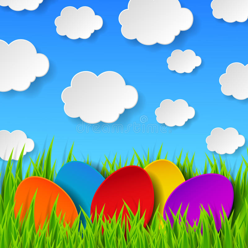 Abstract Easter eggs made of paper on colorful spring background royalty free illustration